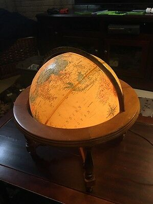 vintage replogle world globe Wood Framework Lights Up 12 Inch