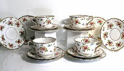 Antique Royal Stafford China 4 Trios Cups Saucers Plates Beautifully HandPainted