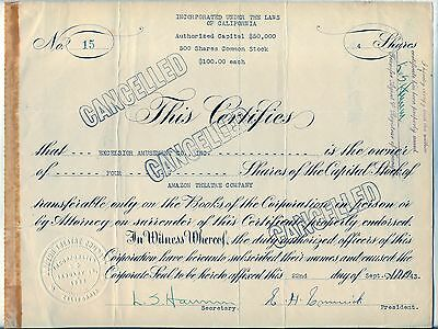 Amazon Theatre Company Stock Certificate California
