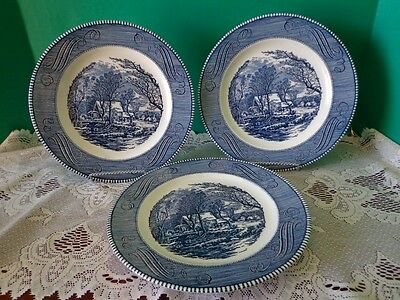 3 Dinner Plates Vtg Blue Currier & Ives Royal China Old Grist Mill