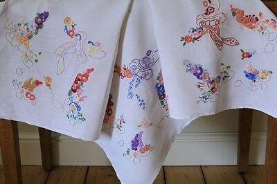 Vintage White Linen Tablecloth Hand Embroidered Crinoline Ladies Garden Flowers