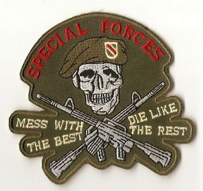 ++ Badge Abzeichen Aufnäher Patch -  SPECIAL FORCES - Mess with the best - Kutte