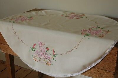 Vintage Oval Beige Tablecloth Hand Embroidered Crinoline Ladies Flower Lace Edge