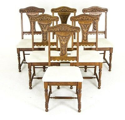 B654 Set of Six Carved oak Dining Chairs, Upholstered Seats, 1920s