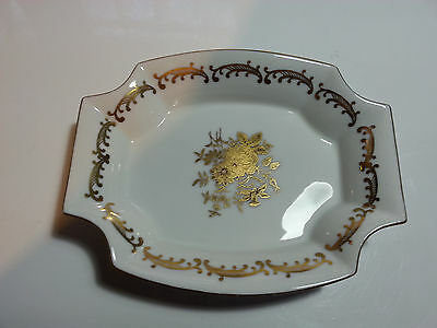 Vintage Inarco Candy Dish Small Serving Dish White with Gold, Well Marked E-1493