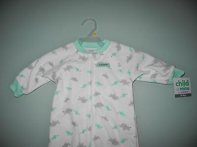 Nwt Child Of Mine Carter's Infant Sleeper Size 0 - 9 Months White Aqua Elephants