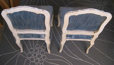 Antique Old Pair of White & Gold Painted-Wood and Blue-Fabric Chairs w/ Dowels