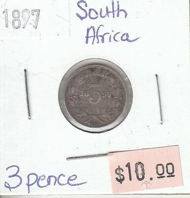South Africa 3 Pence 1897 Silver Circulated