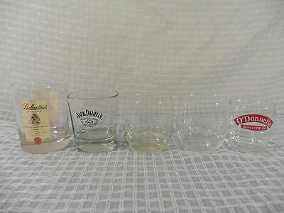 Lot of (5) ALCOHOL Glasses Jack Daniels Remy Martin Ballantine's Finest Barware