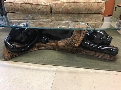 Mid Century Modern Black Panther Coffee Table Ceramic Glass Retro Vintage
