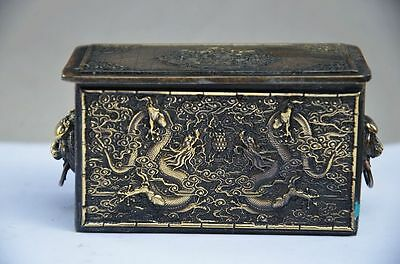 Old Collectible Chinese Copper Handwork Dragons Storage Box
