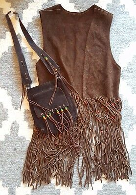 Vintage Leather Fringe Vest and Matching Purse