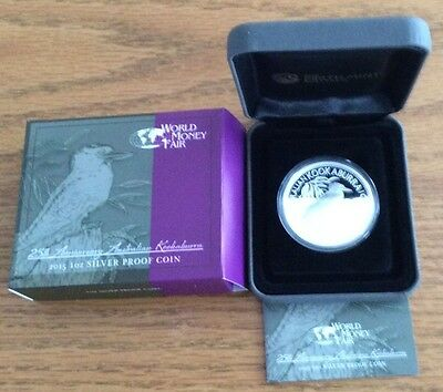 2015 Proof Kookaburra WMF World Money Fair Berlin 1 Oz .999 Silver Coin Box COA