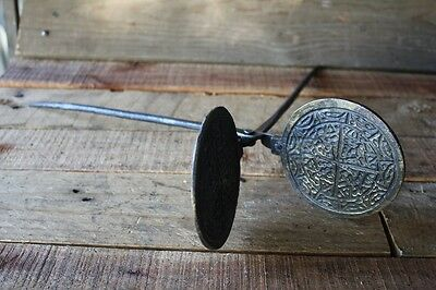 Stunning Antique French Cast Iron Waffle Maker Press Wrought Iron Pancake Brass