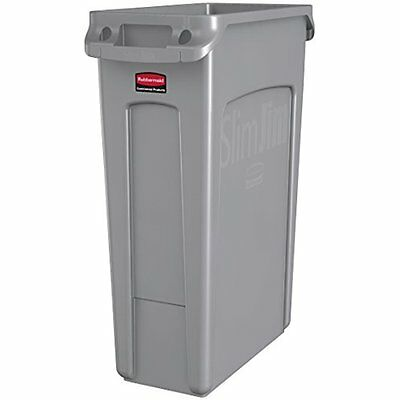 Rubbermaid Commercial Slim Jim Receptacle with Venting Channels, Rectangular, 23