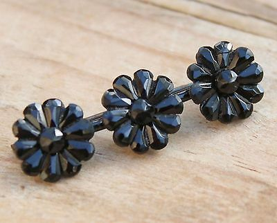 French Jet Brooch Antique Victorian Mourning Hair Pin Vintage Jewellery Memento