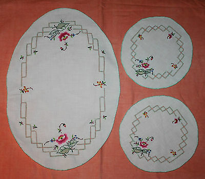 Vintage Embroidered And Thread Work Doily Duchess Set