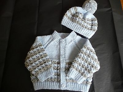 """New Hand Knitted Baby Cardigan & Hat ~ 16"""" ~  Boy ~ (0 - 3 months) Blue / Grey"""