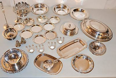 lot estate vintage silverplate Covered Dishes Coasters Misc Butter Trays