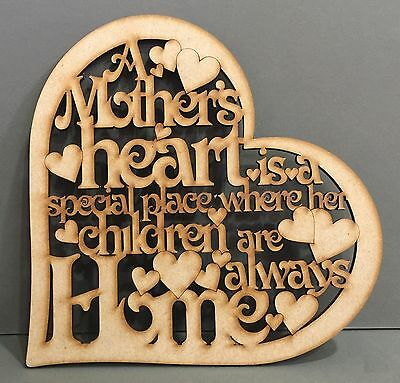 S214 A MOTHER HEART HOME IS A SPECIAL PLACE Plaque Gift Quote Sign Wooden MDF