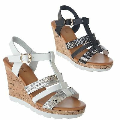 0c0af915612 Womens Ladies Strappy High Cork Wedge Heel Ankle Strap Buckle Sandals Shoes  Size