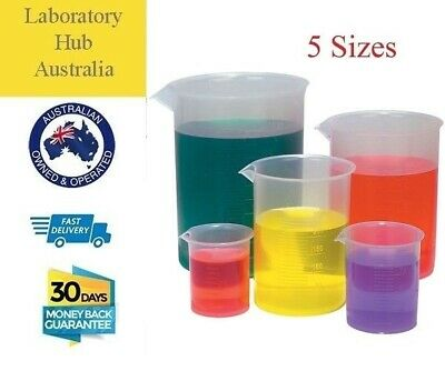 Plastic Autoclavable Laboratory Beakers Low Form, 5 sizes, 1/5/10 pcs