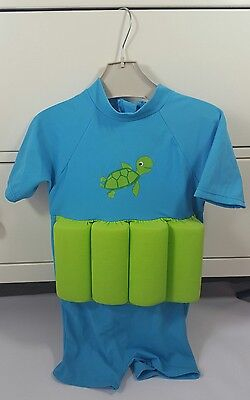 Mothercare Aqua Blue & Lime Green Float Swimsuit / Sunsuit 1 - 2 Years