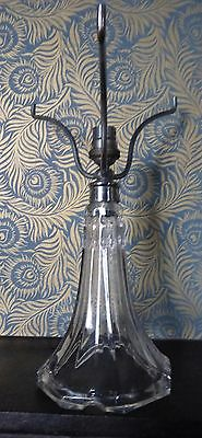 Art Nouveau cut glass lamp base with chrome shade holder c.1900