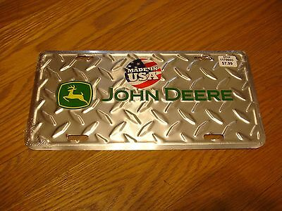 John Deere Embossed Metal License Plate - Diamond Plate Yellow Green Made in USA