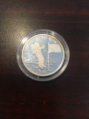 2000 Man On The Moon $10 Liberia Silver Coin Free Shipping .999 Silver