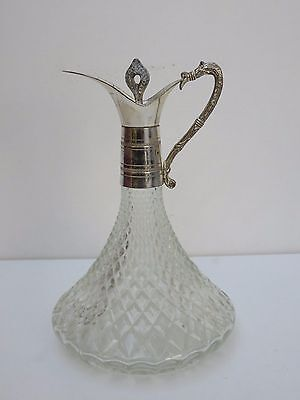 Vintage Glass Claret Jug Wine Ships Decanter Silver Plated Mount Pitcher