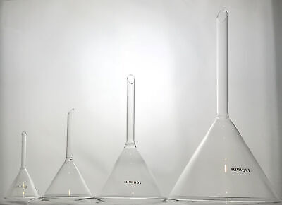 Laboratory Glass Filter Funnels, Soda Lime Glass, 4 Sizes on base diameter