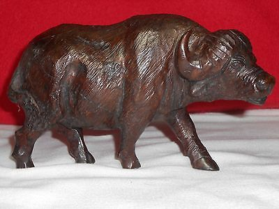 Rare Antique Chinese-Hard Burl Wood Carving Buffalo.