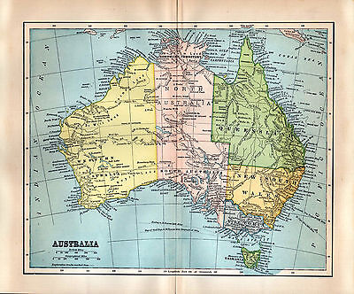 1891 Map Australia Queensland New S. Wales Victoria Tasmania Exploration Tracks