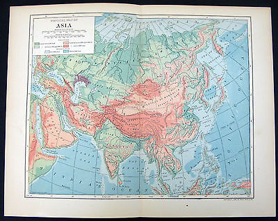 1906 Physical Map Asia Showing Elevations Ocean Depths Statute Miles Kilometers