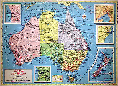 1952 Map Australia and New Zealand with Five Insets or Southern Africa
