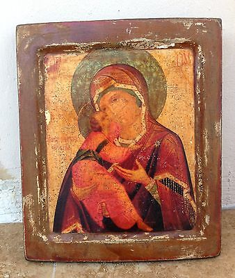 OLD RUSSIAN ORTHODOX ICON OF THE MOTHER OF GOD OF VLADIMIR, CIRCA 1800s