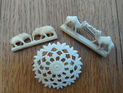 Vintage  Small Bone Carved Brooch x 3 Chinese ?