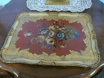 Beautiful  Papier/Paper Mache Painted Floral Tray - Firenze Italy VGC