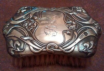 Antique solid silver sterling stamped brush art nouveau era initials BMD 5 in