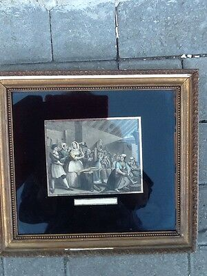 Antique framed Hogarth Engraving Print ' The Harlots Progress'