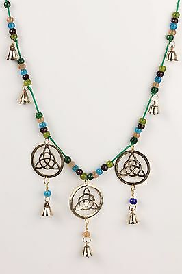 "Golden Brass Triple Triquetra Chime In a Single Thread  with Color Beads 24"" Lon"