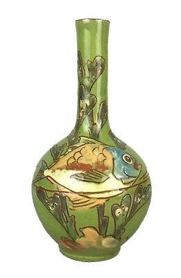 CHARLES BRANNAM 1892- GREEN STUDIO ART POTTERY FISH BOTTLE VASE by WILLIAM BARON