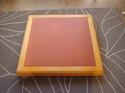 Vintage Wood & Leather Folding Card Table w/2 Fold-up Chairs-Ivy Carved STAKMORE