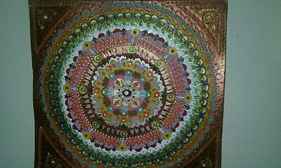 Exquisite handcrafted beautiful leather mandala art work