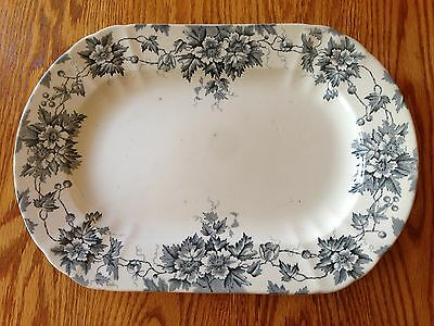 "Antique Transferware English Ironstone Marion Blue Platter 15"" Moore & Leason"