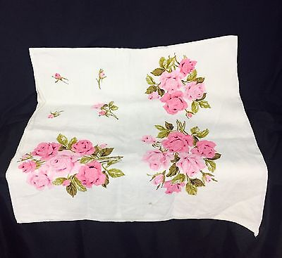 Vintage 1950's Square Linen 48 X 48 Rose Tea Tablecloth. White And Pink.