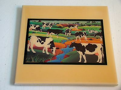 "COW HERD BY THE RIVER Art Print Ceramic Tile 8"" X 8"" Hand Made by Grander Images"