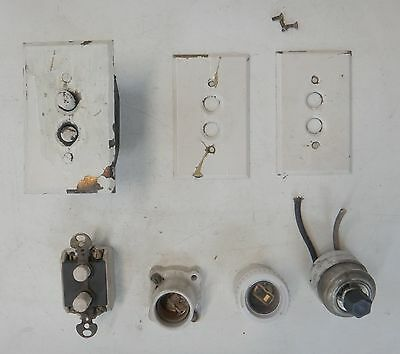 Vtg Push Button Switches, Brass Switch Covers On Off Wall Switch Bulb Sockets