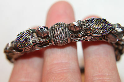 Antique Vintage Chinese Solid Silver Dragon Heads Bracelet Ball Clasp